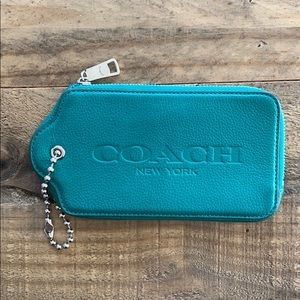 Coach Hangtag Wristlet with Embossed Logo in Jade